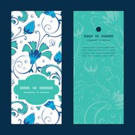 Vector blue green swirly flowers vertical frame pattern invitation greeting