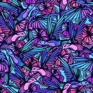 Flying tropical hummingbirds with flowers seamless pattern