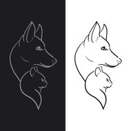 Hand Drawn Dog and Cat Sketched Vector Illustration