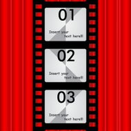 The Reel film background red curtains for text, photo, vector