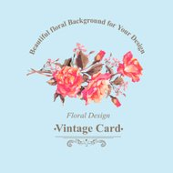 Vintage Watercolor Greeting Card with Blooming Red Roses