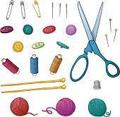 Set color of sewing items. Set for needlework and handmade.