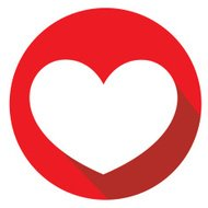 flat icon of heart shape or love