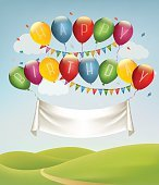 Happy birthday banner with balloons and landscape. Vector. Vecto