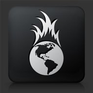 Black Square Button with Global Warming Icon