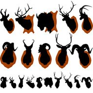 Mounted Animal Heads Silhouette Set