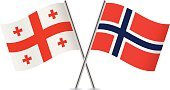 Georgia and Norway flags. Vector.