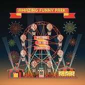 FUNNY PARK CARNIVAL NIGHT SCENE ELEMENTS