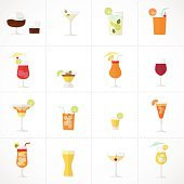 Alcohol drinks and cocktails soft and long-drinks icon set