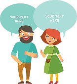 Vector Man and woman couple and dialog speech bubbles