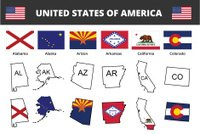 six of USA state flags and maps