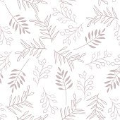 Leaves and berry, seamles brown pattern