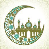Floral crescent moon and mosque for Eid Mubarak.