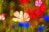 Illustration colorful flower meadow in bright colors