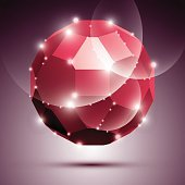 Party dimensional red sparkling disco ball. Vector abstract