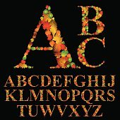 Floral font made with leaves, natural alphabet letters set,