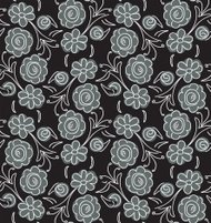 Black Scribble Flowers Seamless Pattern