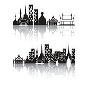 Silhouette building with reflection, Vector object background