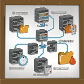 Database and network connection design on white board,vector