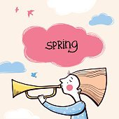 Girl playing a trumpet calling spring to come. Vector illustration.
