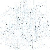 Abstract isometric computer generated 3D blueprint visualization lines background. Vector