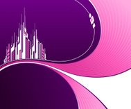 Wavy purple background with abstract pink futuristic architectur