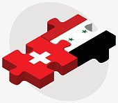 Switzerland and Syria Flags