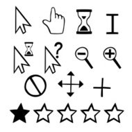 Hand drawn vector cursors icons