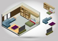 illustration of  bedroom concept in isometric graphic