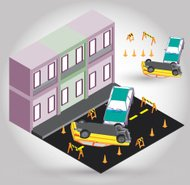illustration of car accident concept in isometric graphic