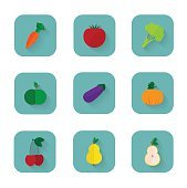 Modern flat icons a healthy lifestyle, proper nutrition