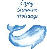 Enjoy Summer Holidays Background with Ocean Whale