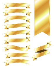 Set of Blank Gold Ribbons