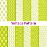Set of nine seamless pattern in retro style