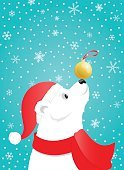 Polar bear with a Christmas ball