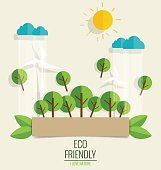 ECO FRIENDLY. Ecology concept with tree background.