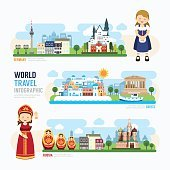 Travel and outdoor Europe Landmark Template Design Infographic.