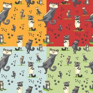 Seamless patterns set with funny cats.
