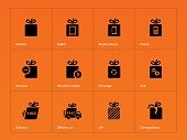 Presents box icons on orange background