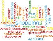 Shopping multilanguage wordcloud background concept