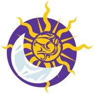 tribal sun and moon vector symbol
