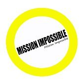 MISSION IMPOSSIBLE black stamp text on white
