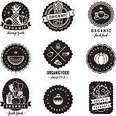 Organic food logo-badges vintage vector set. Hipster and retro style.