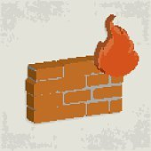 Fire wall design on old background,vector