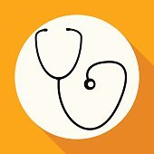 medicine icon on white circle with a long shadow
