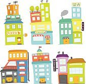 set of six colorful vector houses
