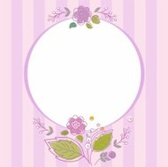 Postcard, frame, lilac, striped with flowers.