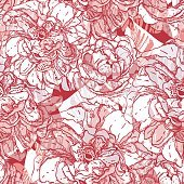 Seamless pattern with roses and rose hips