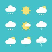 Set of Flat Weather Icons