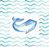 Watercolor Whale on Waves Background